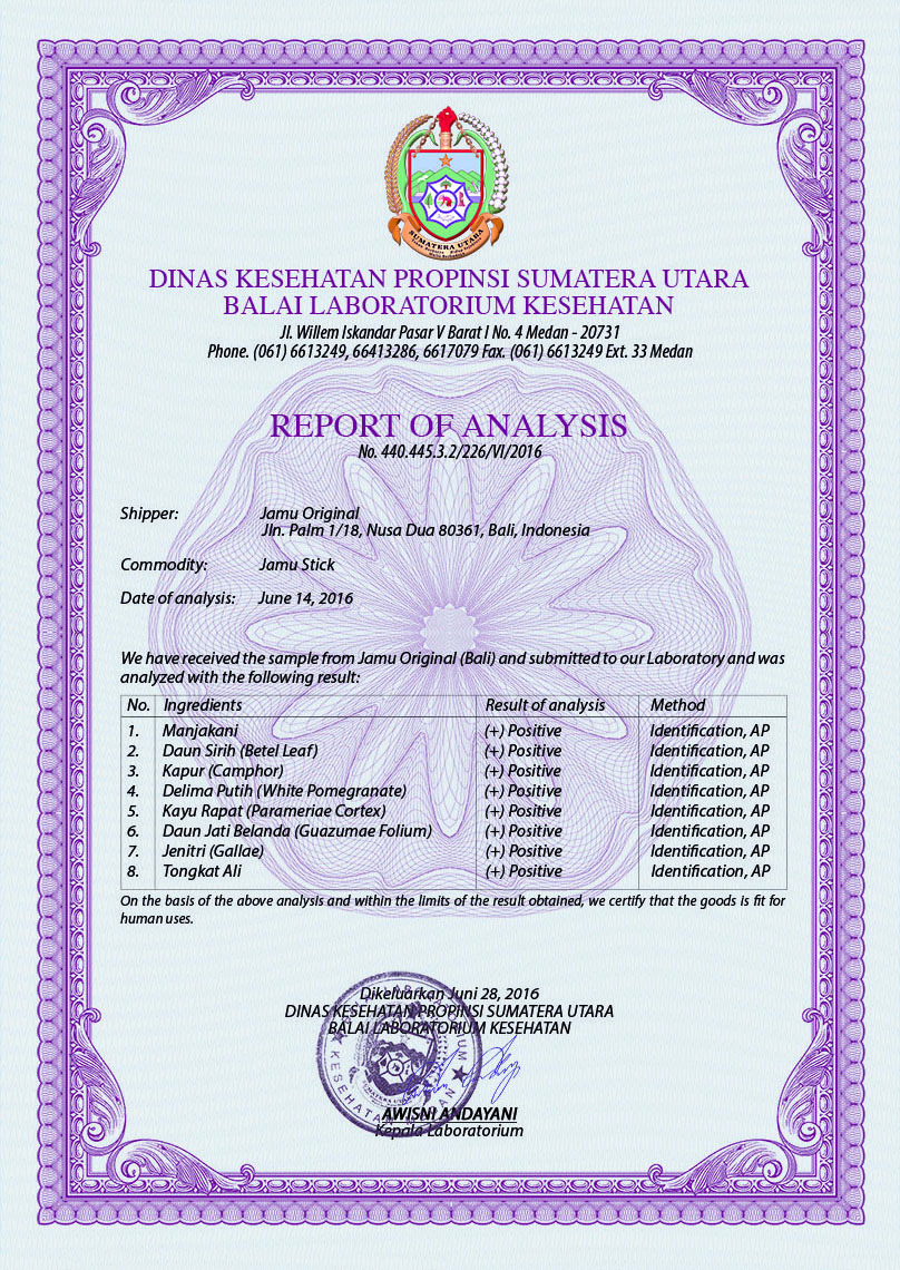 Analysis Certificate Jamu Stick